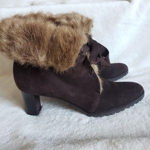 Ann Taylor LOFT fur ankle heeled boots 9.5